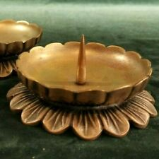 Pair of antique brass candle holders circular flowers spike holder Victorian