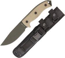 "Ontario RAT-5 Fixed Knife 5"" Coated 1095HC Steel Full Tang Blade Micarta Handle"