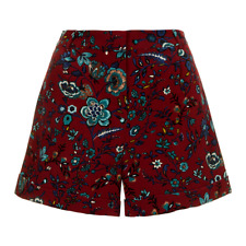 Topshop women's blueberry flower shorts - UK 8 - floral burgundy red retro ditsy