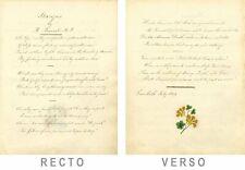 Poésie copperplate 1834 Stances par Ralph Bernal MP avec Peinture Géranium jaune