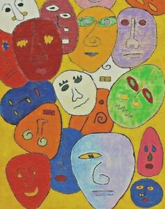 Signed Baev - Dated 79 - Faces Masks