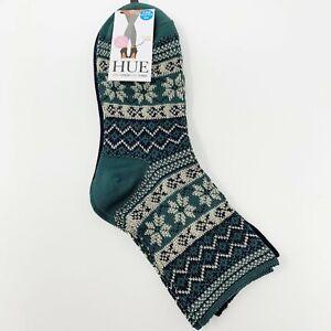 Hue 2-Pack Wintersoft Boot Socks, One Size Green Novelty Snowflake Fair Isle