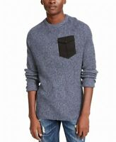 American Rag Mens Sweater Blue Size Small S Crewneck Pocket Contrast $40 #073