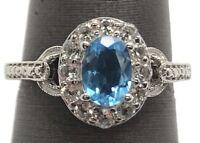 Sterling Silver Oval Blue Aquamarine CZ Flower Halo Petite Elegant Cocktail Ring