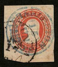 US 1854 #U5 - 3c Red Washington Cut Square Blue Charleston SC PAID cds Cancel