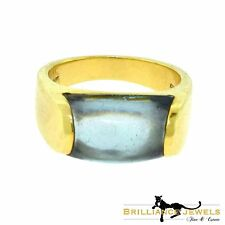 BULGARI BVLGARI 18 Karat Yellow Gold Tronchetto Aquamarine Ring, Size 6