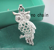 Silver Small Owl 3D Hollow Out Necklace Pendant