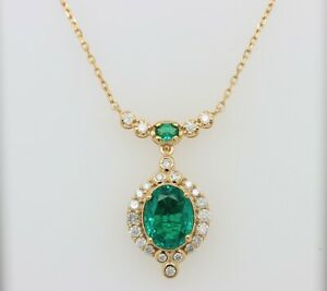 9x7mm Oval Emerald & 0.40ct Diamond Halo Pendant Necklace 14K Yellow Gold Over
