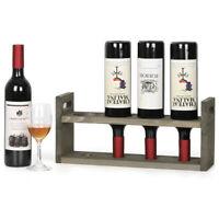 Rustic Wood Countertop Wine Rack for 4 Bottles Wine Storage Stand Holder