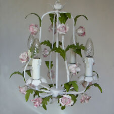 VINTAGE ITALIAN CHANDELIER CEILING LIGHT TOLE PORCELAIN ROSES FLOWERS