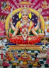 "Santoshi Mata/ Goddess Durga Hindu Goddess poster with Glitter effect (12""x16"")"