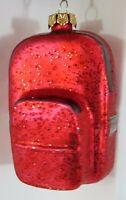 Red Glitter Backpack Glass Christmas Ornament