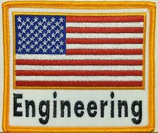 ENGINEERING Emblem & USA American Flag Embroidered Iron-On Patch  Gold   Border