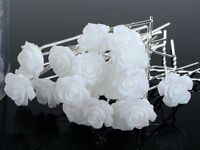 10Pcs Wedding Bridal White Rose Flower Hair Pins Clips Bridesmaid