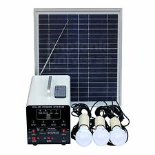 15W Solar Lighting System 3 Lights, Solar Panel, Battery, FM Radio, MP3 Player