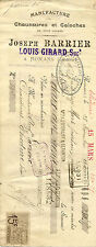 traite facture joseph BARRIER chaussures galoches ROMANS 1901