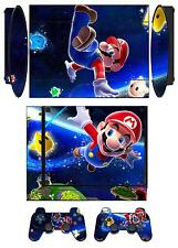 Skin Sticker for PS3 PlayStation 3 Super Slim and 2 controller skins Mario Q906