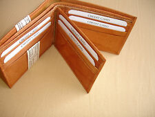 Tan Leather Bi Fold Wallet 1 ID 9 Card Slot 4 Small 2 Large Open Pocket New