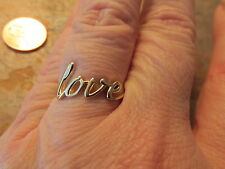 """14 KT Yellow Gold """"Love"""" Script Style Band MM Ring NEW....... LOVE WORD"""