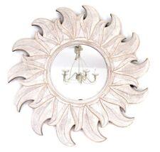 Sonnen-Spiegel groß * ø 60 * Landhaus weiß-antik * Wandspiegel Holz *OVP*#Deko
