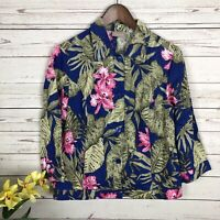 Chico's Paradise Floral Button Down Linen Blazer Women's Size 0 Small Pockets