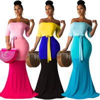 NEW Women Strapless Color Block Vacation Bodycon Evening Cocktail Party Dress