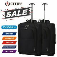 Set of 2 Ryanair easyJet 55cm Cabin Approved Hand Luggage Wheeled Trolley Bags