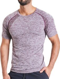 Ohmme OM Short Sleeve Mens Yoga Top Purple Compression Fit Designed For Inver...