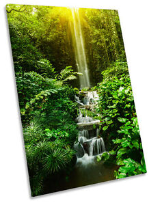 Tropical Sunset Landscape Waterfall Framed CANVAS WALL ART Picture Print