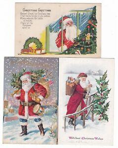 3 Santa Claus St. Nicholas vintage postcards