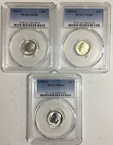 3 Different PCGS MS66 Graded Roosevelt Dimes (1953-S,1954-S,1955-S)