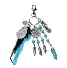 Turquoise Silver Keyholder Dreamcatcher Keyring Boho Keychain Feather Ying yang