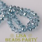 New 300pcs 6X4mm Faceted Rondelle Crystal Glass Loose Spacer Beads Light Blue