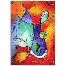 Colorful Abstract Painting Modern Wall Art Funky 1980 Artwork Contemporary Decor