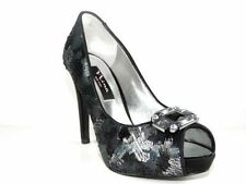 Nina Women's Shoes Evan PEEP Toe PUMPS Black Crystal Size 8 M