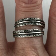 Sterling Silver Double Feather Ring, Religious Ring, Angels Wing, Silver Rings