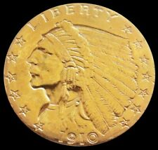 1910 GOLD UNITED STATES $2.5 DOLLAR INDIAN HEAD QUARTER EAGLE COIN *JEWELRY