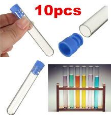 10pcs Borosilicate Glass Test Tubes Rimless Pyrex & Push Caps Lab Clear 12*75mm