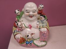 ANTIQUE / VINTAGE ASIAN PORCELAIN BUDDHA WITH CHILDREN. 8 1/2 INCHES HIGH MARKED