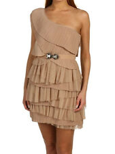 $348 BCBG NUDE (NST6L067) ONE SHOULDER TIERE TULLE DRESS WITH BELT NWT L