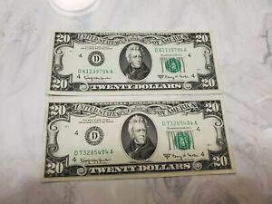 1963 $20.00 2 Twenty Dollar Federal Reserve Notes Both Serial # End in 94 Crisp
