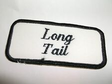 New listing Long Tail Used Embroidered Vintage Sew On Name Patch Tag Black On White