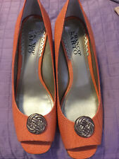 "Shoes, FRANCO SARTO,tangerine leather, open toe, gold accent, 2"" wedge 7 1/2M"