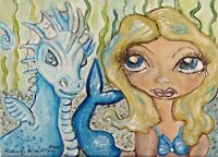 Mermaid and Water Dragon Original Painting 5x7 by Artist Kimberly Helgeson Sams