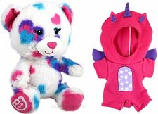 "BUILD A BEAR 7"" Buddies HEARTS & HUGS Teddy UNICORN OUTFIT Glow In The Dark PINK"