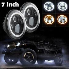 1Pc Turn Light LED Headlight Angel Eye Halo For Jeep Wrangler Round 7 Inch
