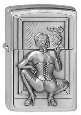 ZIPPO Feuerzeug SMOKING WOMAN m. Emblem Brushed Chrome Sexy Girl Frau NEU OVP