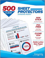Integrity Resources Crystal Clear Durable Sheet Protectors Archival Safe Pvc F