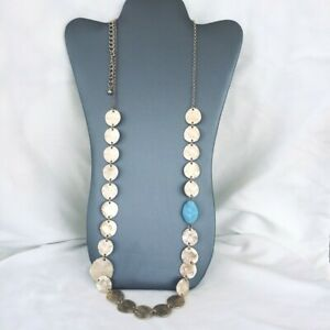 """41"""" length necklace / belt gold-tone round disc chain plastic turquoise bead"""