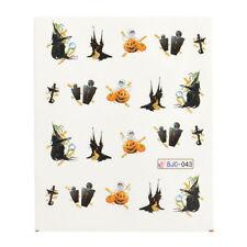 Halloween NAIL ART ADESIVI AD ACQUA trasferimenti Spaventoso CASA ZUCCHE Croce (BJC43)